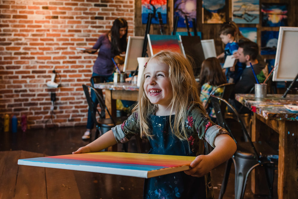 Enjoying a kids' birthday party at Muse Paintbar.