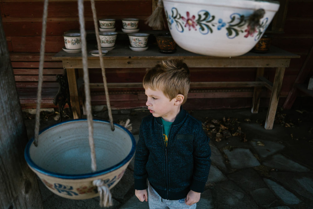 A little boy plays outside of the Berkshire Potter.