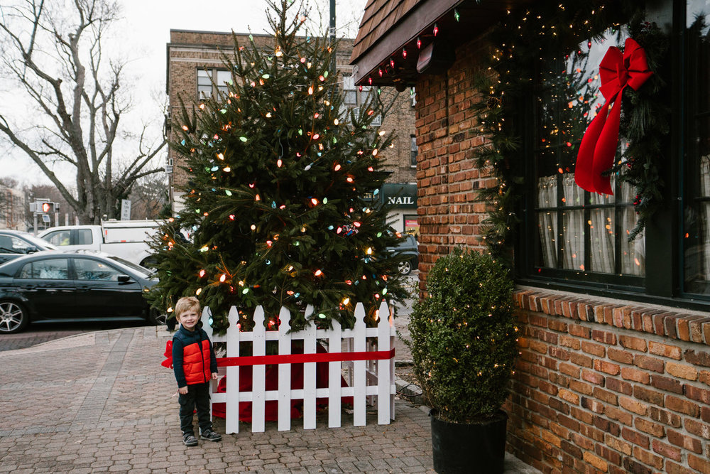A little boy stands in front of a Christmas tree in Garden City.