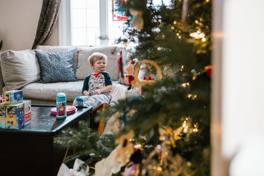 A little boy eats lunch next to a Christmas tree.
