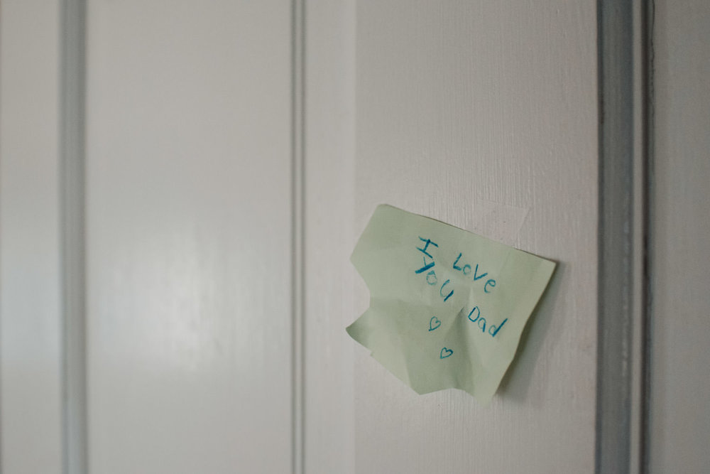 "A post-it note addressed to ""dad""."