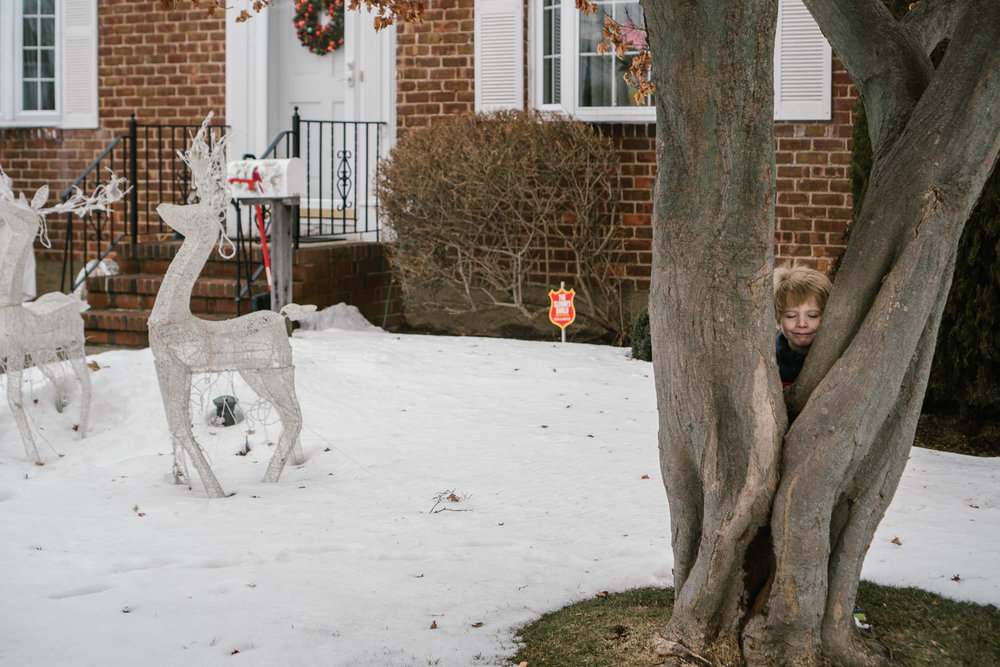 A little boy hides behind a tree in a snowy front yard.