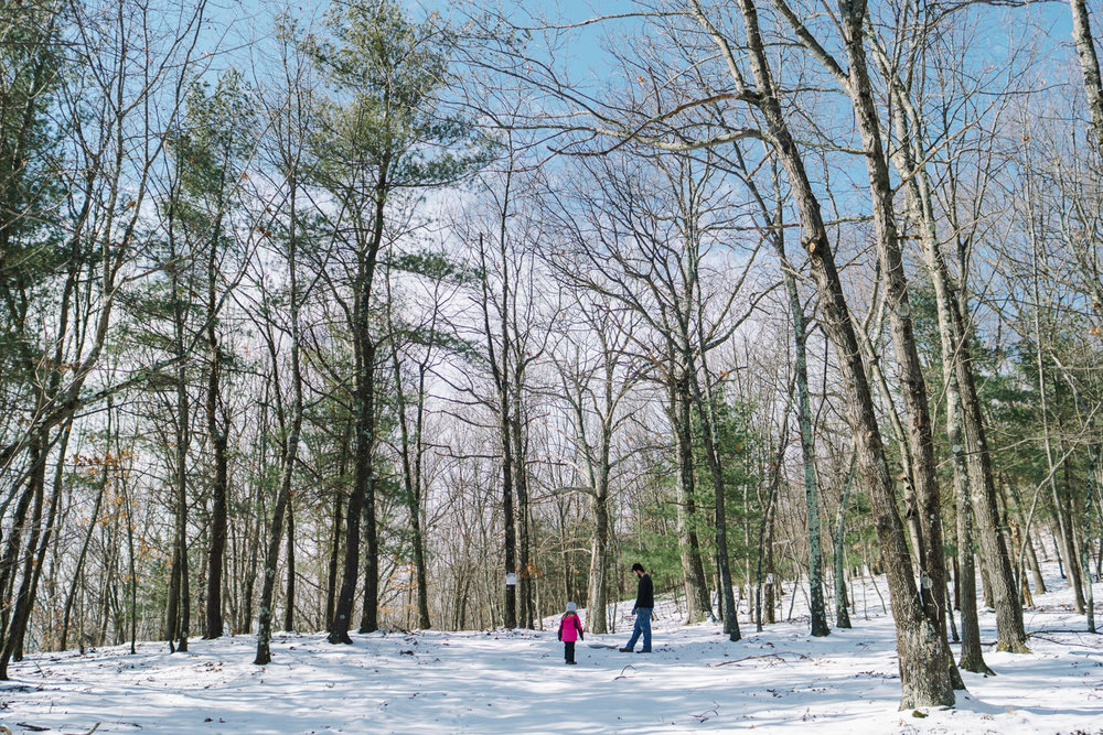 A father and daughter walk through snowy woods.