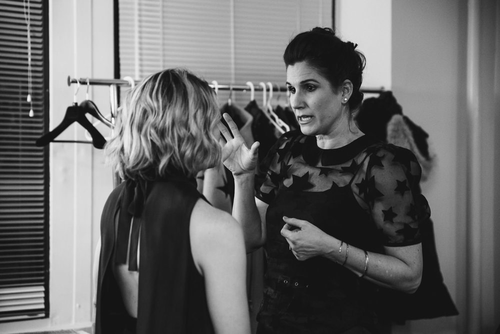 Stephanie J. Block and Celia Keenan-Bolger chat backstage at 54 Below.
