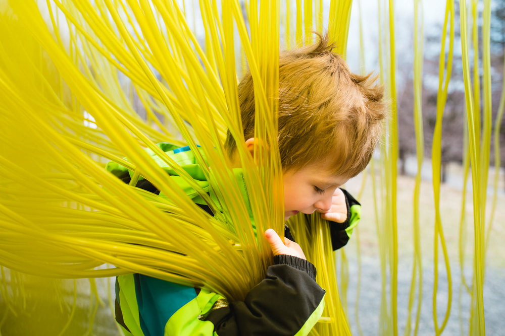 A little boy plays in an art installation.