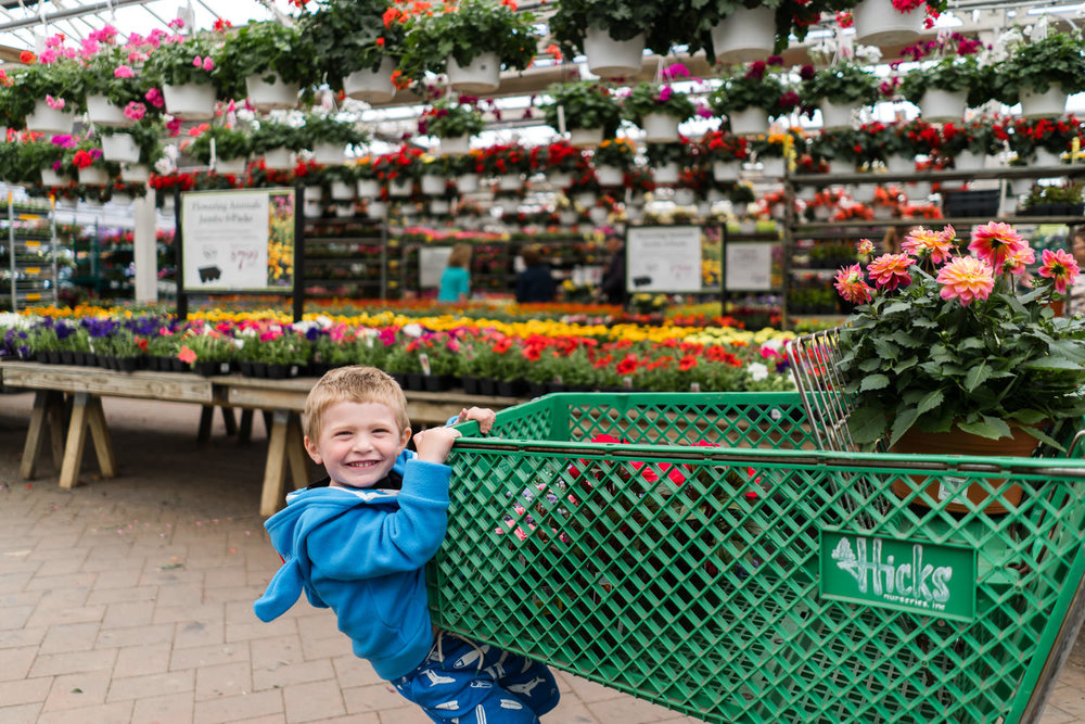 A little boy rides a cart at Hicks Nursery.