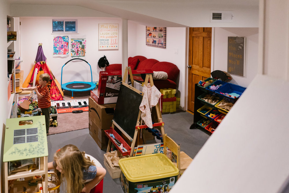 A basement playroom.
