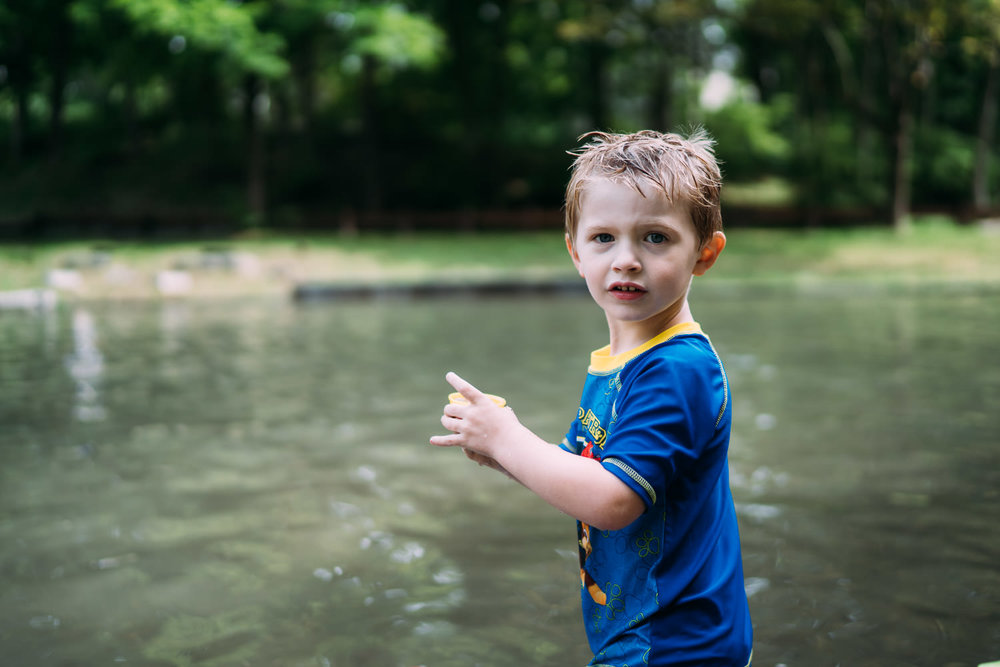 A little boy at the Ore Pit in Copake.
