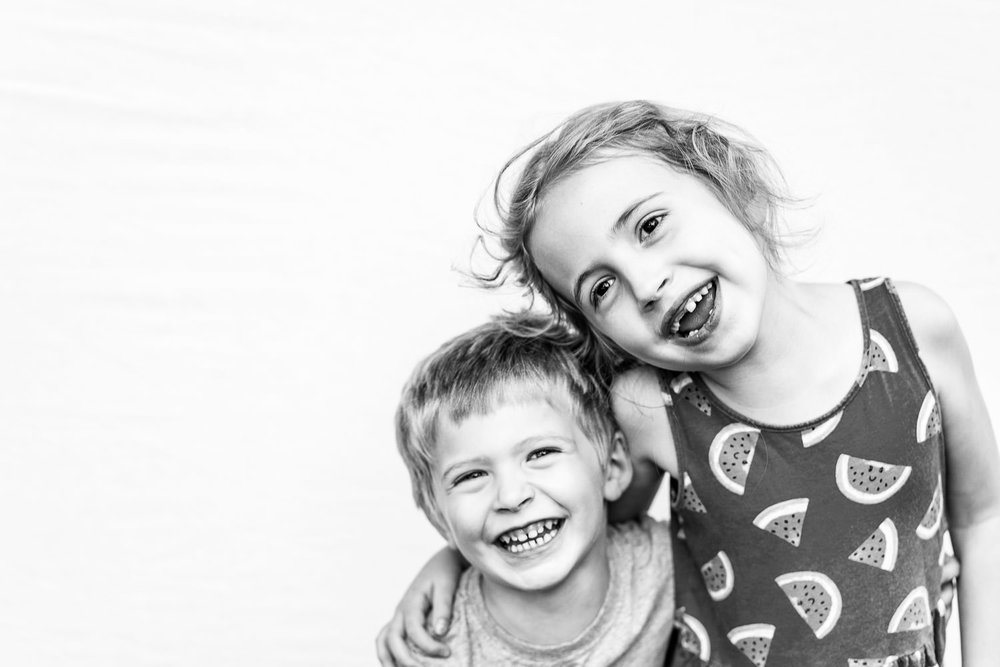 A portrait of a boy and girl.