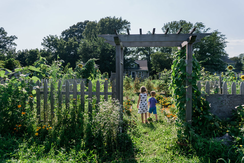 Two kids explore the gardens at Crossroads Farm.