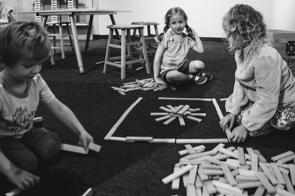 Kids play with blocks at the Long Island Children's Museum.