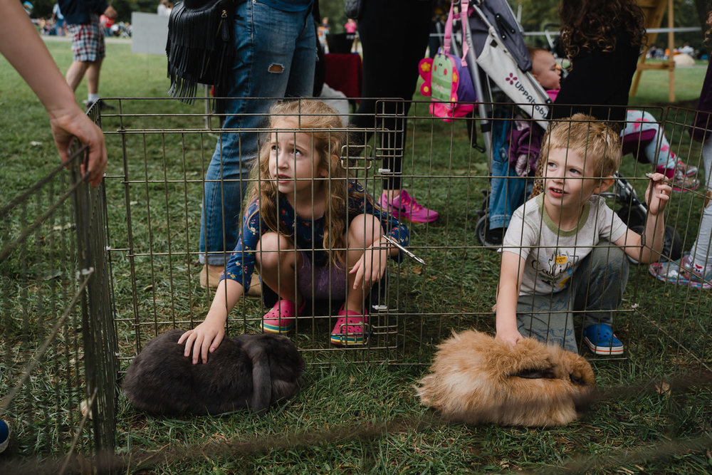 Two children pet the bunnies at Sands Point.