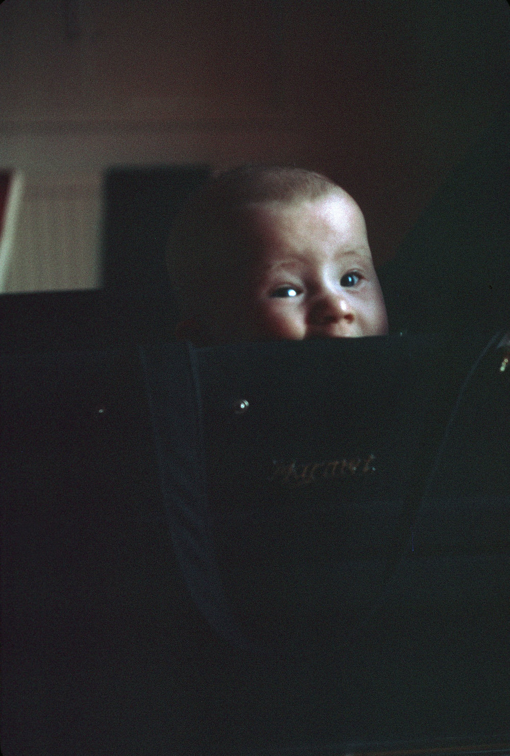 Me, peering out over the side of the pram.