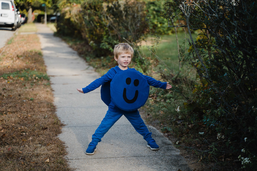 A little boy dressed in his Halloween costume