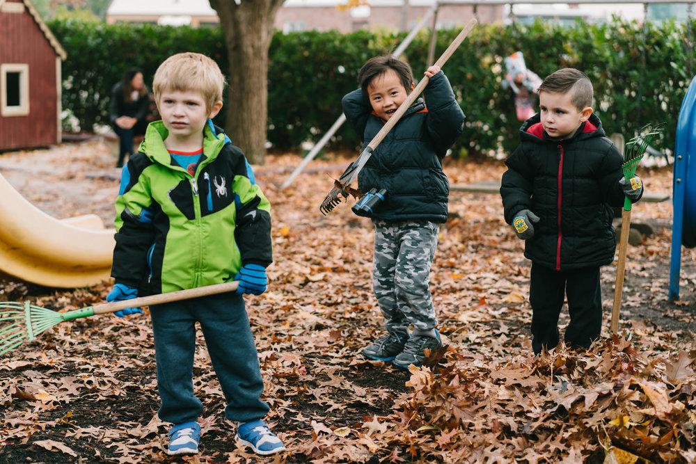 Three little boys rake leaves.