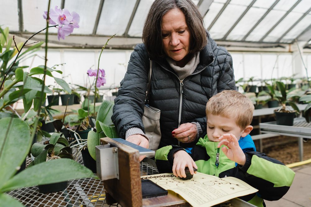A grandmother helps her grandson with a rubber stamp at Planting Fields.
