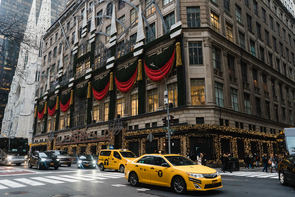 Saks Fifth Avenue lit up for the holidays.