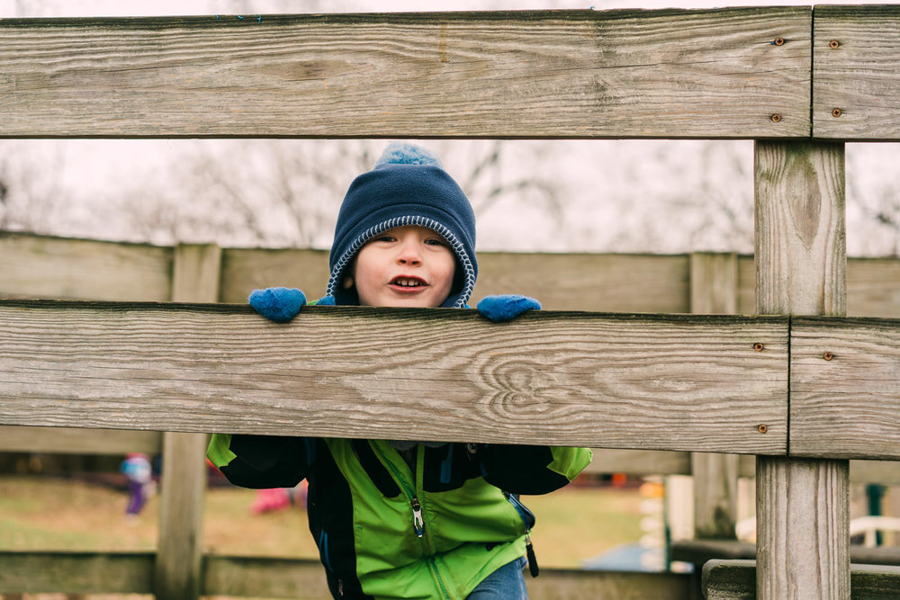 A little boy looks out from a wooden fence.