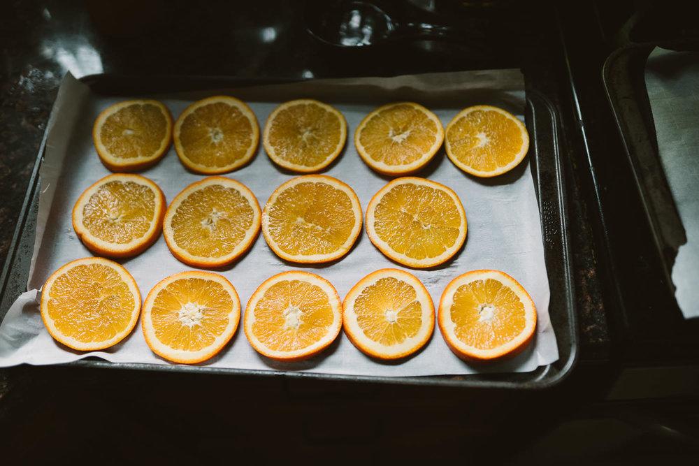 Drying oranges.