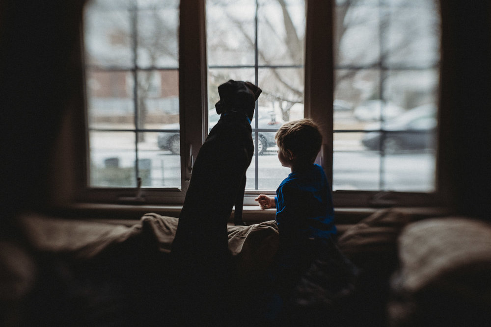 A boy and his dog looking out a window at the snow.