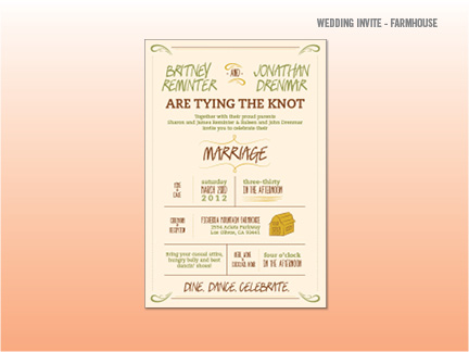 Farmhouse / Barn weddings seem to be pretty popular, so I did my take on it. Pretty wordy, but wedding invites always have lots of details in them. This one is a little more interactive and dynamic.