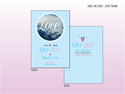 Save the Date - Love is in the Air theme. Very simple and to the point save the date design.