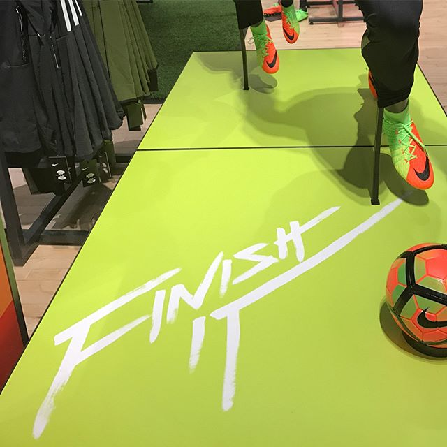 Niketown Seattle ::::: #design #flourescent #type #brushlettering #pattern #texture #shoes #airjordan #russellwestbrook #athletics #nike #niketown #seattle #finishit #shine #playhard #bigdreams
