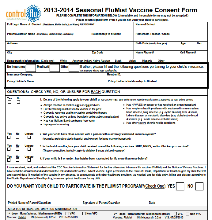 2013-2014 Flu Mist Program