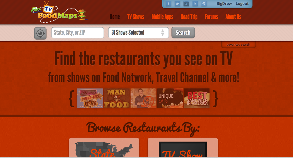 The redesign of TVFoodMaps.com makes finding great new places easier.
