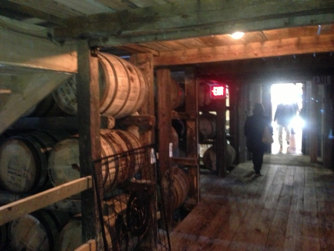 The small rickhouse at Makers Mark.  A small number of barrels are kept here for the tour.