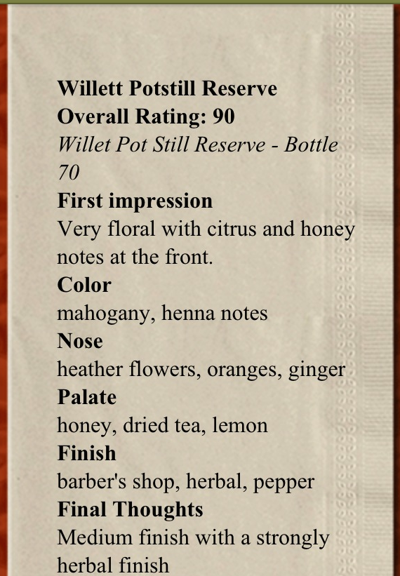 My tasting notes from the Potstill Reserve