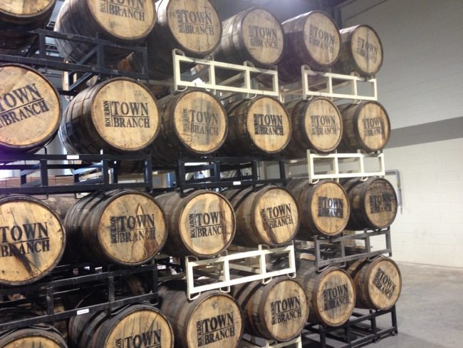 Town branch is located near downtown Lexington, but their barrels are aged offsite. Here you see racks of barrels brought in from the warehouses for bottling.