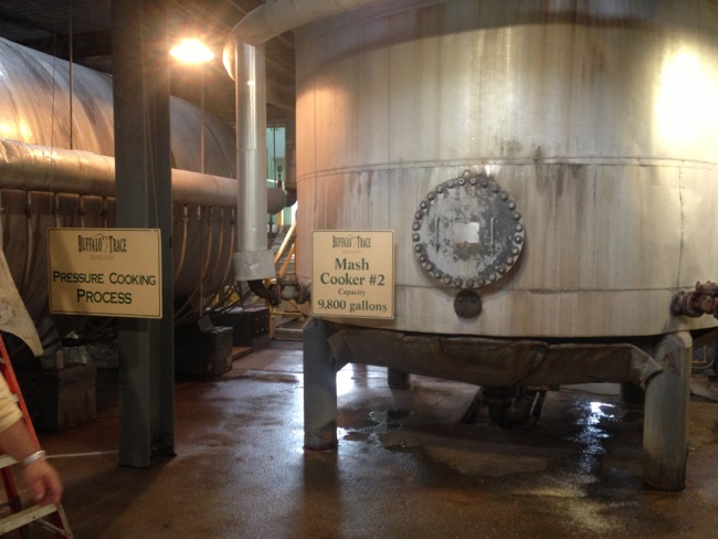 Buffalo Trace uses pressure to speed the cooking process of it's mash.  This is one of eight 9800 gallon mash cookers.  Each one is emptied every week and refilled.