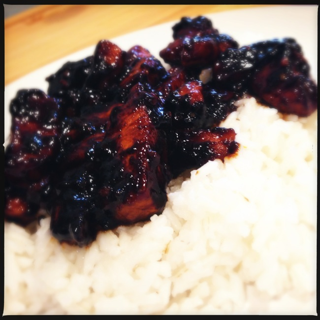 Bourbon chicken, caramelized perfectly to concentrate flavors and sugars