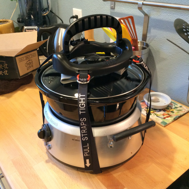 Even with the unique design of my crock pot, attaching the Crock-it Lock-it and securing it was simple and easy.  Straps are clearly marked with basic directions in case you misplace the original packaging.