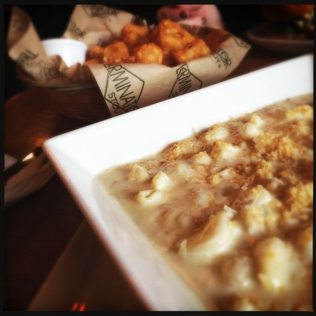 Oven Baked Crab Mac & Cheese with a side of Cajun Tots....comfort food on a blustery winter day at the beach.
