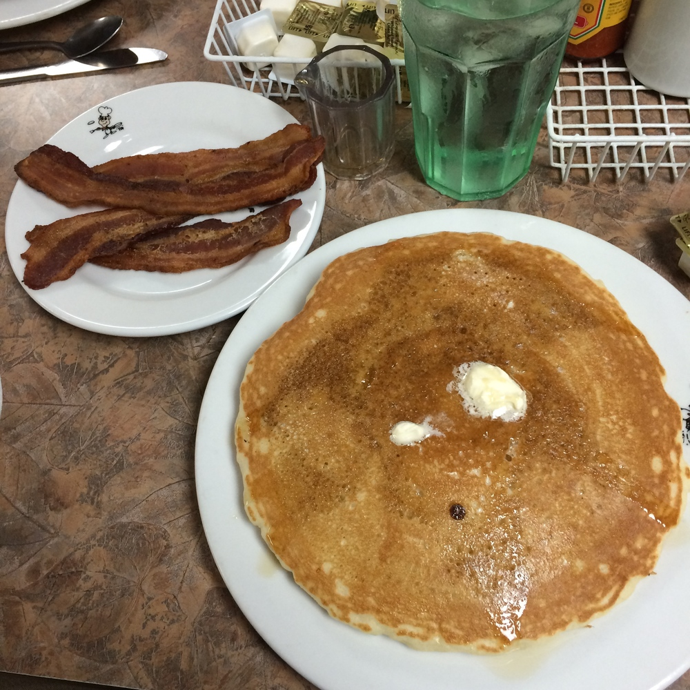 To put the size of these pancakes into perspective, those bacon slices were 10 inches long.
