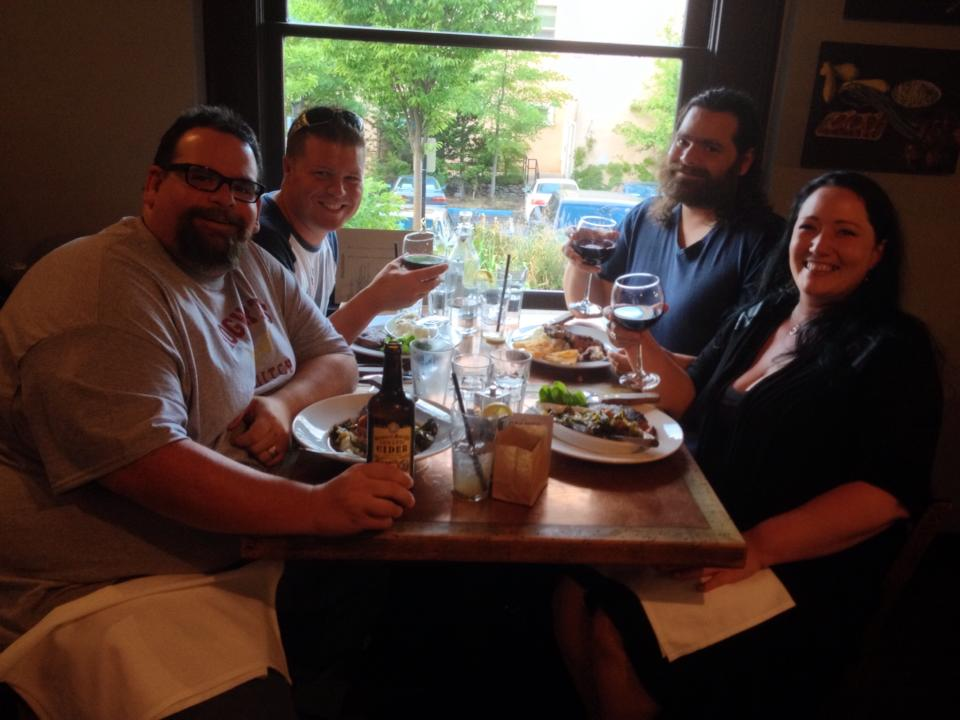 Enjoying our dinner at Smithfields in Ashland.  Pictured from left to right: Me, Coop, Tony, and Shawna