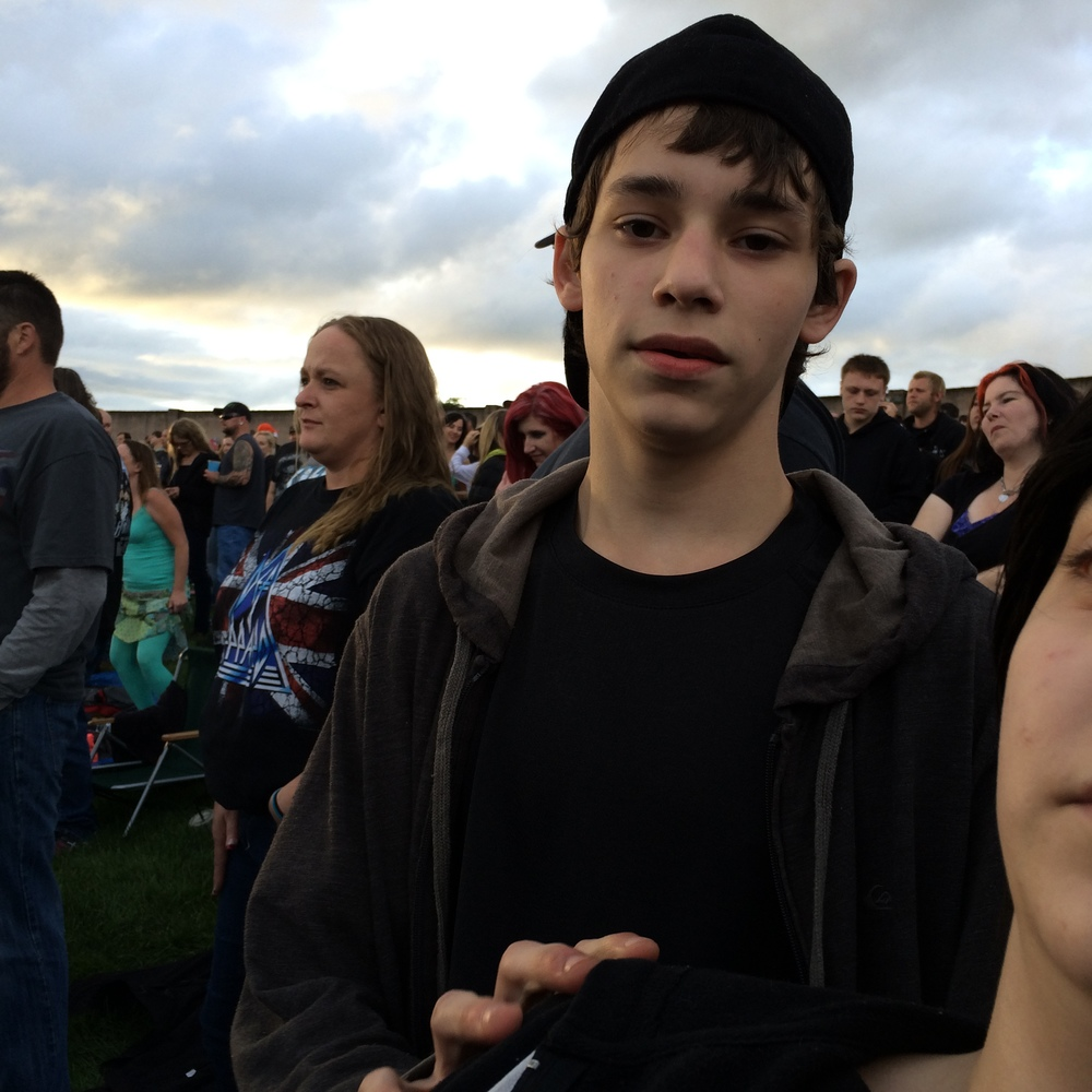 Our son Andrew eagerly waiting for Def Leppard to take the stage.