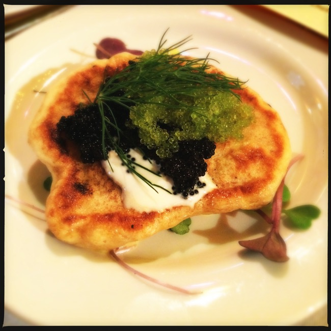 Blini with Wasabi-Orange Caviar and Creme Fraiche