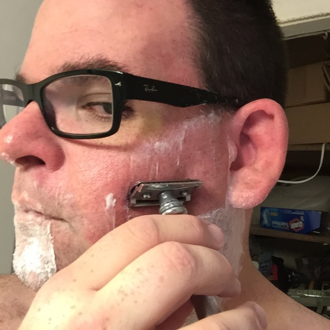 Step Six:  Put razor to face!  Start with handle parallel to floor and then slightly drop end down until the blade just starts to grab hair.  Apply as little pressure as possible, letting the razor do the work unlike disposable razors.  Make sure you shave with the grain of your beard to avoid ingrown hairs.