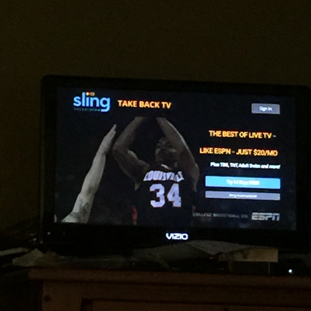 My first notice that SlingTV was live today came via my FireTV, not a press release.  This ad greeted me when I turned my TV on this morning.