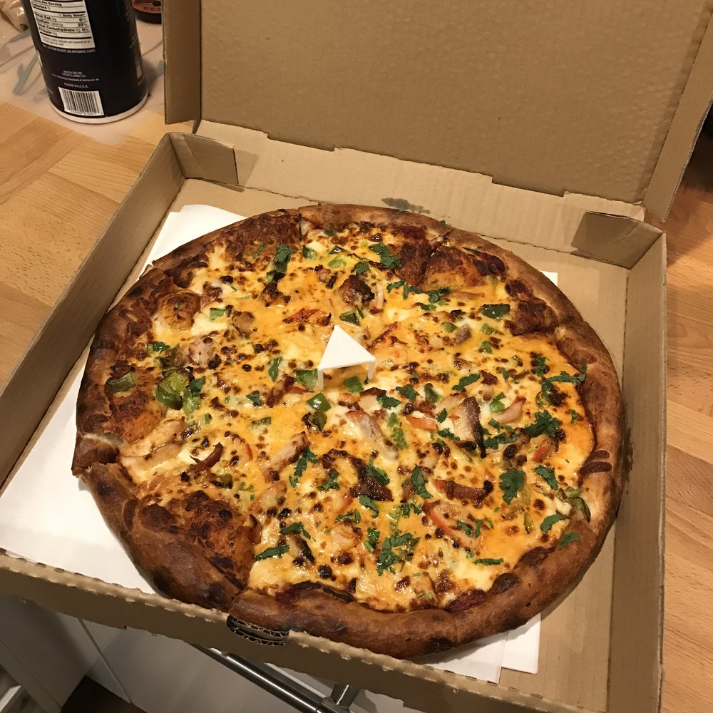 I got my large Butter Chicken Pizza to go and took it home.