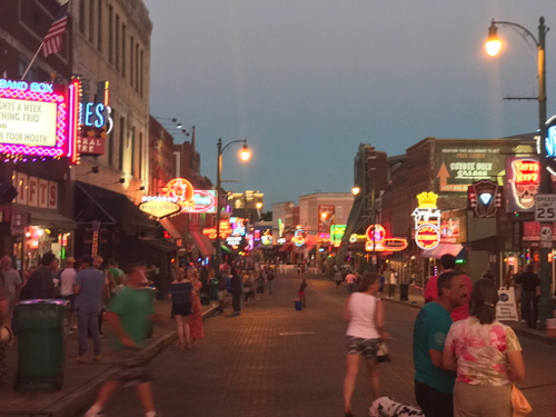 Even on a Monday evening Beale Street was busy.