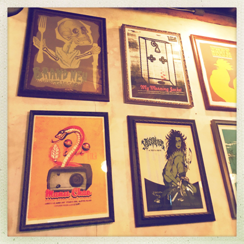 Stubbs BBQ has quickly become one of the premiere music venues in Austin, and they proudly have decorated with concert posters from previous shows.