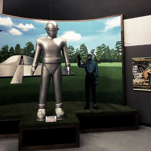 Among the historical display from the Roswell incident is also memorabilia from several alien themed movies like this model from The Day the Earth Stood Still