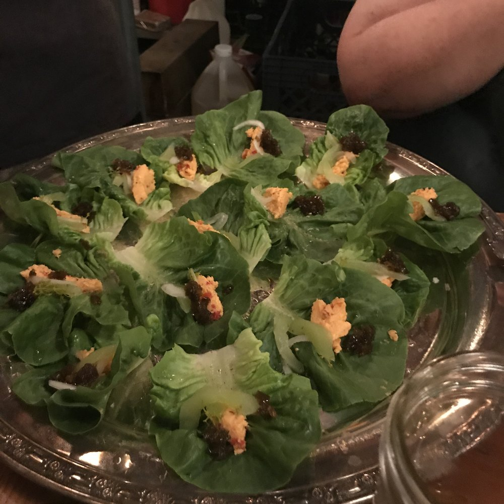 Our final plate before the main course was little gem lettuce wraps, pickled ramp pimento cheese, sweet pickled cucumbers, allan benton's smoky tennessee bacon, and toasted benne on gem lettuce leaves