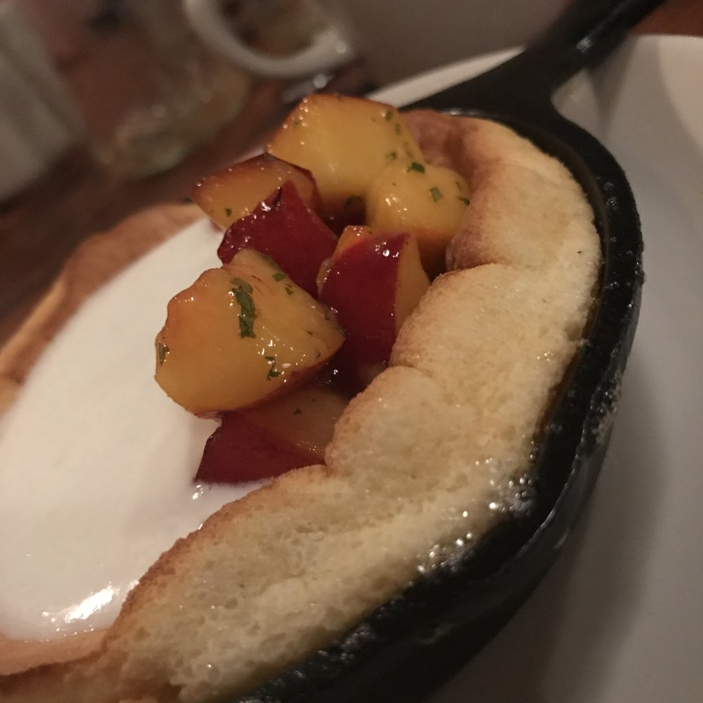 Our evening concluded with one of my favorite desserts growing up, white corn spoonbread: cornmeal custard souffle, peaches, vanilla buttermilk, lemon verbena