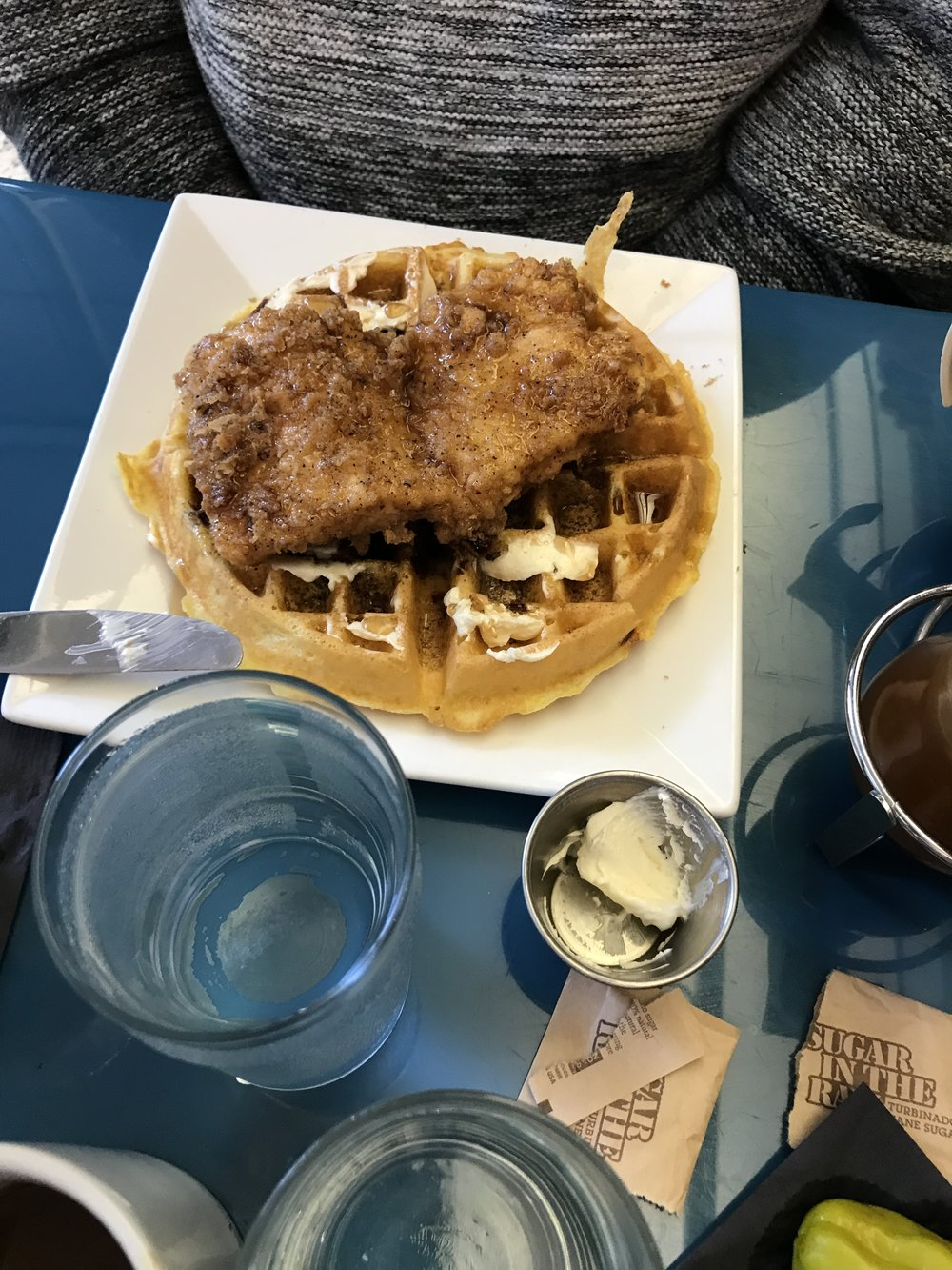 Jeff created his own chicken and waffle combo by pairing a bacon cornbread waffle with a fried chicken breast.  Truly a heavenly combo that had me hooked at bacon....