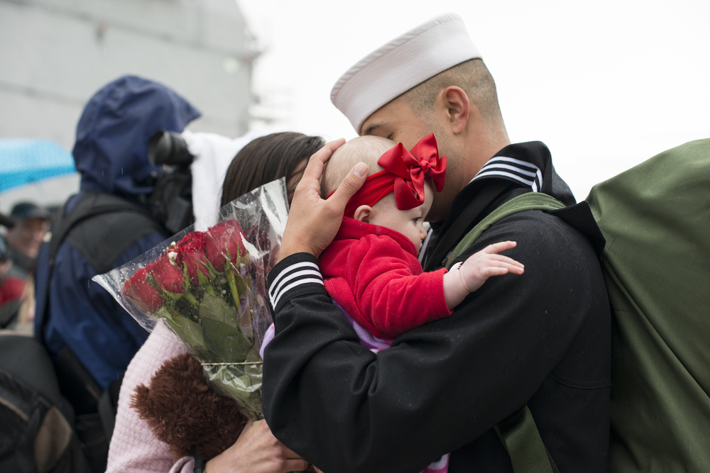 norfolk naval station military homecoming in virginia for uss bainbridge